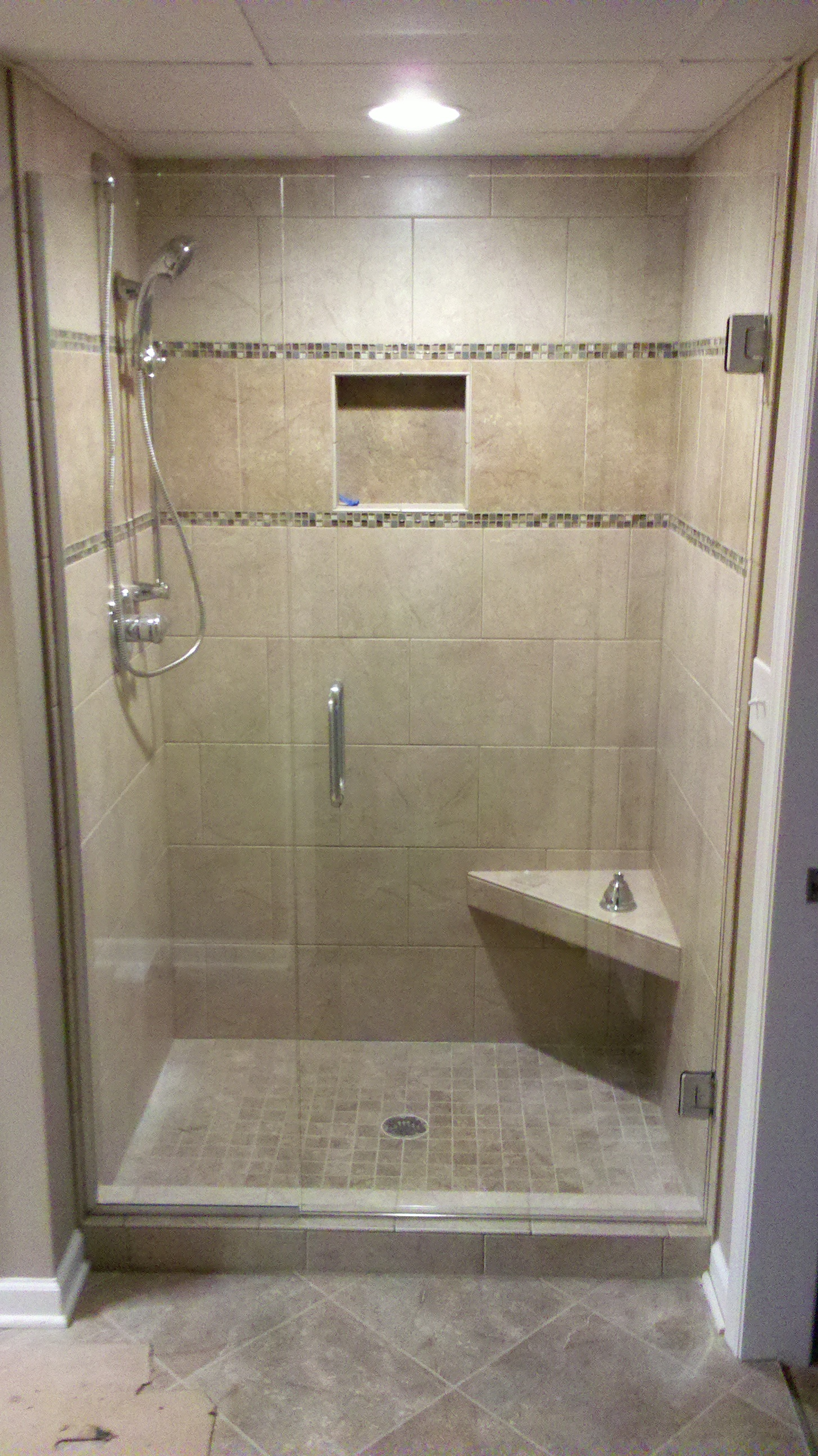 New shower installation performed by home remodeling company Hedrick Creative Building, LLC in Lexington, NC