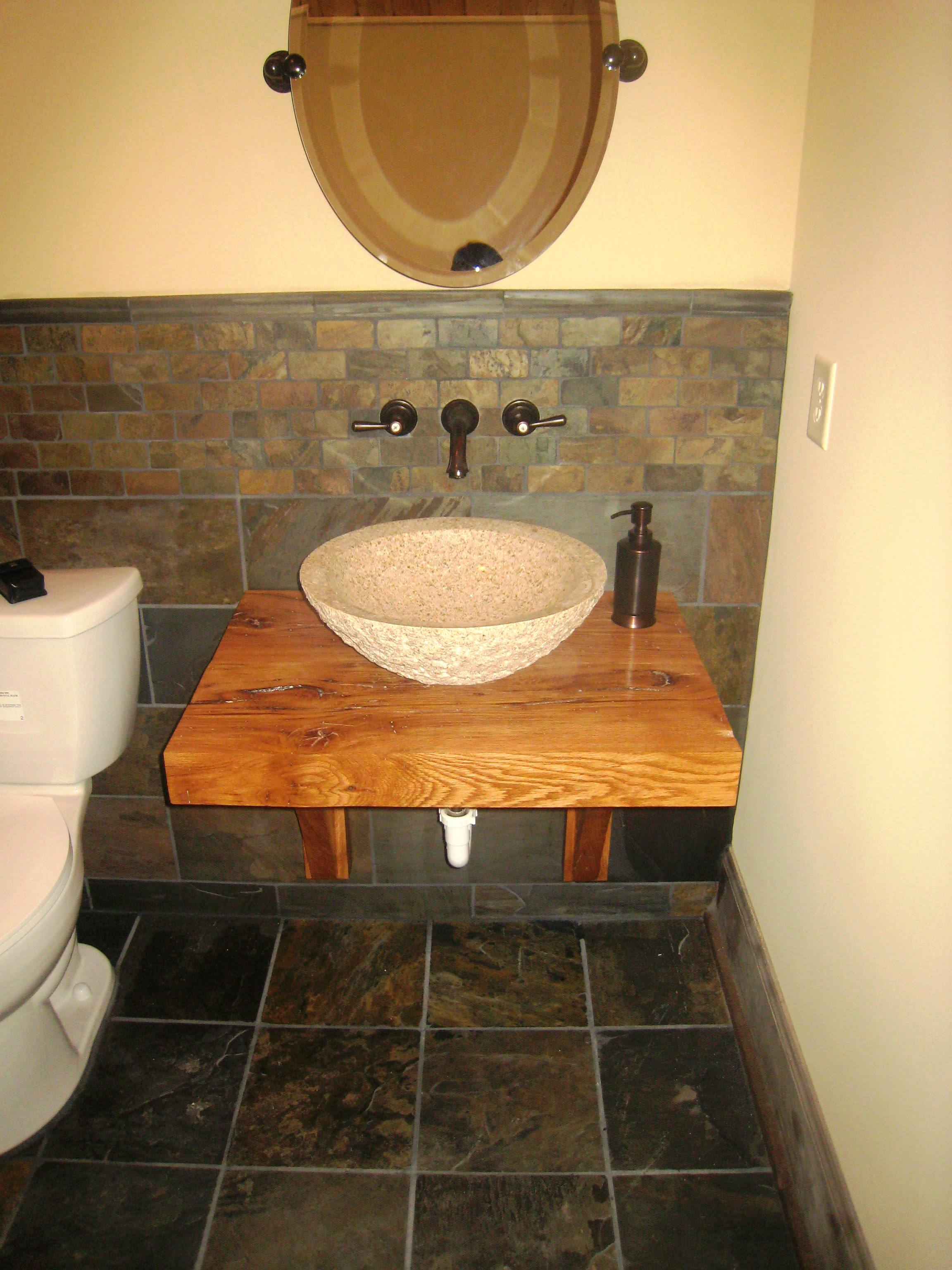Sink, tile, and new plumbing installed by home remodeling company Hedrick Creative Building, LLC in Lexington, NC