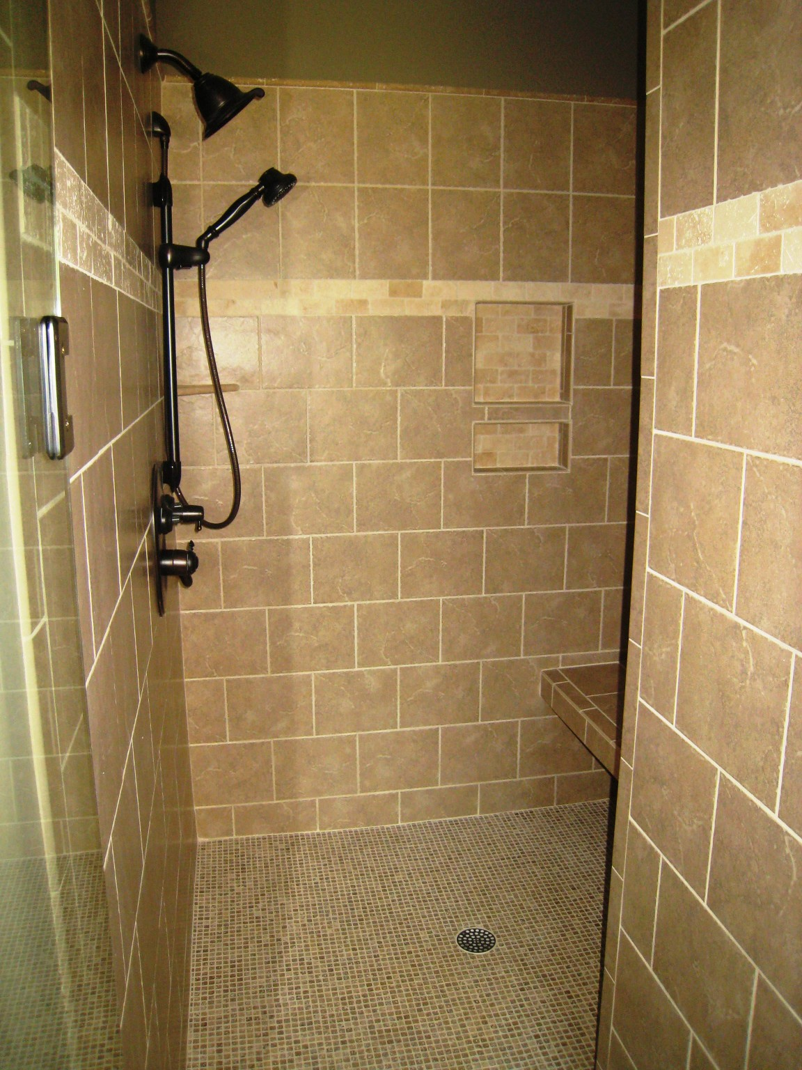 Custom shower and tiling installed by home remodeling company Hedrick Creative Building, LLC in Lexington, NC